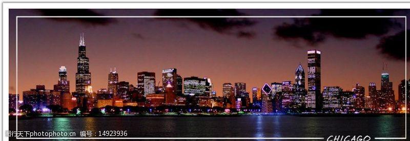美国芝加哥夜景图片