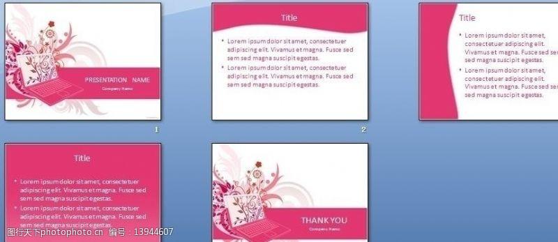 其他ppt模板粉色花纹PPT模板图片