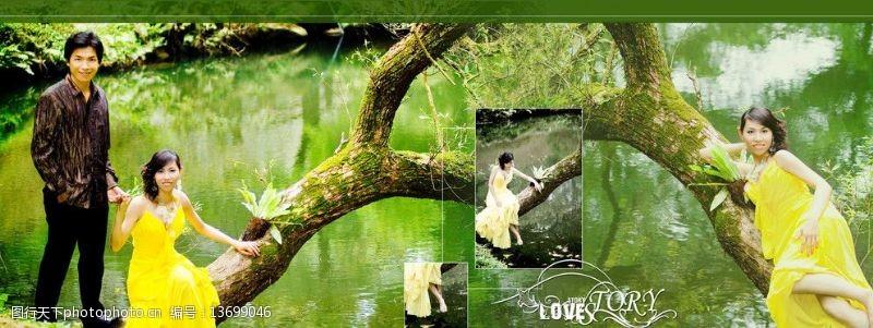 婚紗模板湖水深綠寬幅婚纱模板图片