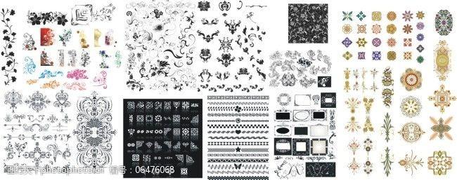 版面设计花边上百种花边花纹边角纹矢量素材